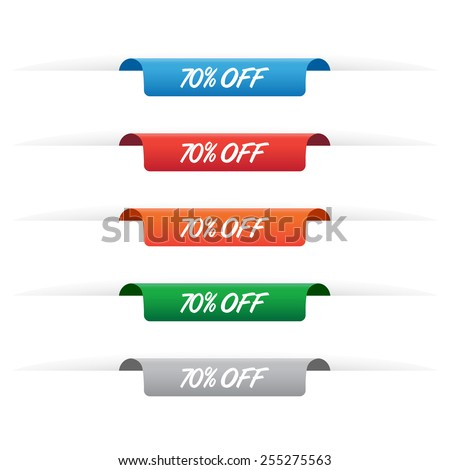 70% off paper tag labels - stock vector