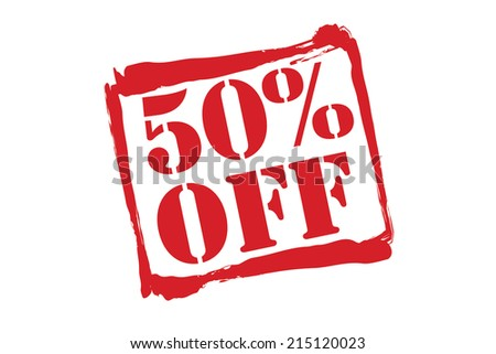 50% OFF red rubber stamp vector over a white background. - stock vector