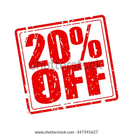 20% OFF red stamp text on white - stock vector