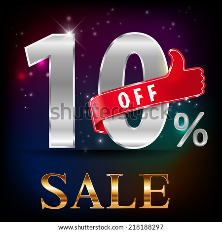 10% off, 10 sale discount hot sale with special offer- vector EPS10 - stock vector