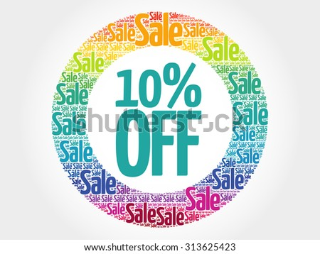 10% OFF stamp vector words cloud, business concept background - stock vector