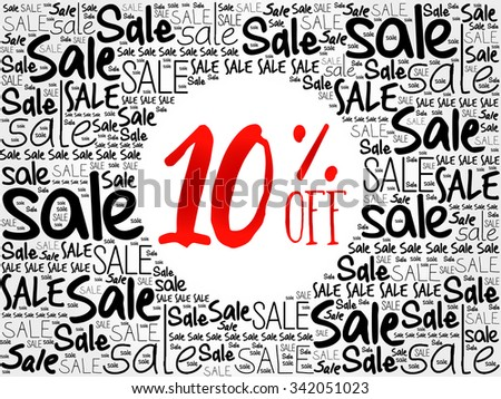 10% OFF word cloud background, business concept - stock vector