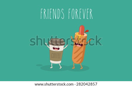 ?offee and hot dog friends forever. Comic characters. Vector cartoon. - stock vector