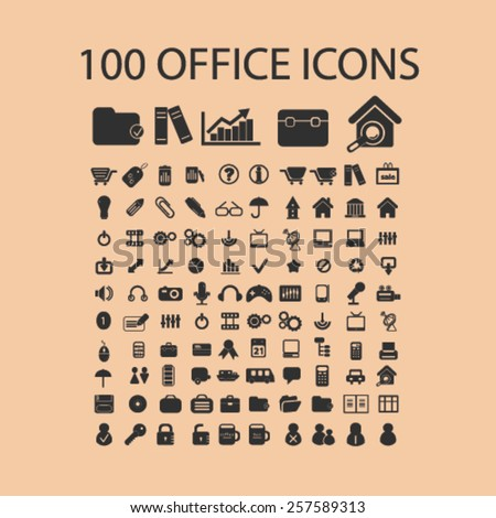 100 office, document, work, organization isolated icons, signs, silhouettes, illustrations,  set, vector - stock vector