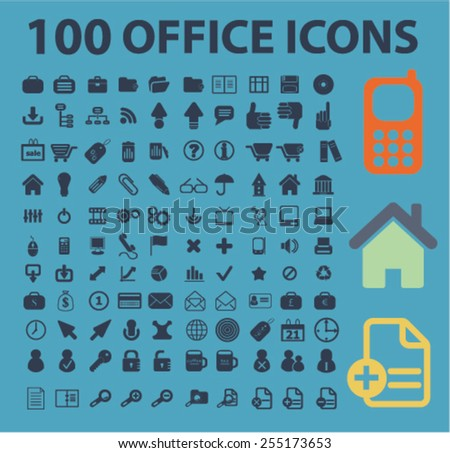 100 office, document, workplace flat isolated concept design icons, symbols, illustrations on background for web and applications, vector - stock vector