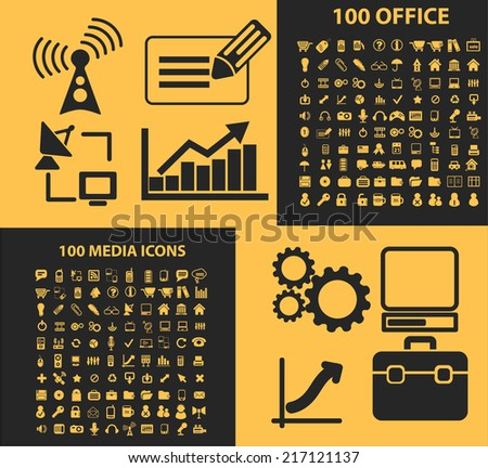 200 office, media icons, signs, illustrations, silhouettes set, vector - stock vector