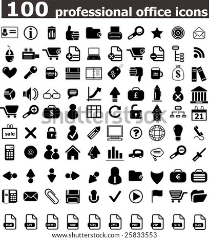 100 office professional icons - vector web set (easy edit) - stock vector