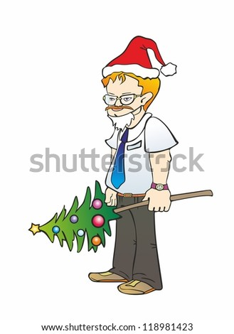 """""""office worker in glasses with a festive Christmas tree"""" - stock vector"""