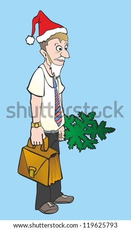 """""""office worker with a Christmas tree and a  briefcase"""" - stock vector"""