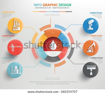 Oil energy and industry info graphic design,clean vector - stock vector