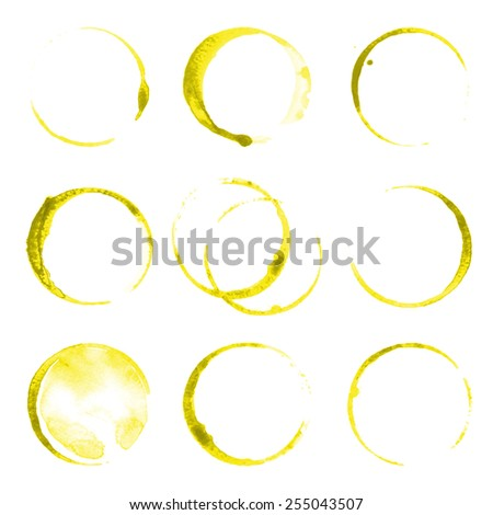 9 oil stains traces over white background - stock vector