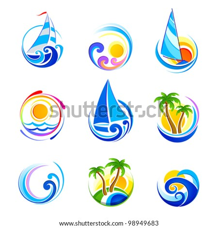 ?ollection of sea icons and summer vacation - stock vector