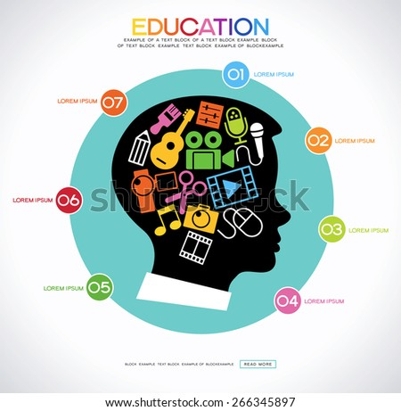 Ã??oncept art education. Infographic background with a set icons of creativity in the silhouette of the head of the child - stock vector