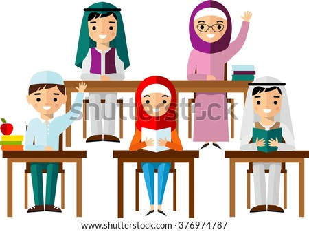 ?oncept of learning with arabian school children at the table in national clothes.  Set of arabic pupil in flat style.  - stock vector
