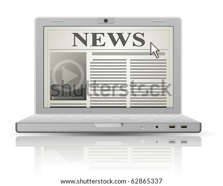Online newspaper. Laptop and news website. Web 2.0 newspaper icon. - stock vector