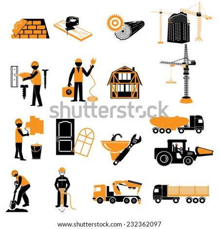 ?onstruction objects vector (crane - worker - building - skimmer) - stock vector