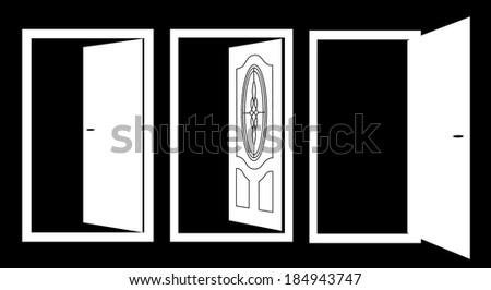 OPEN DOOR SET ILLUSTRATION VECTOR - stock vector