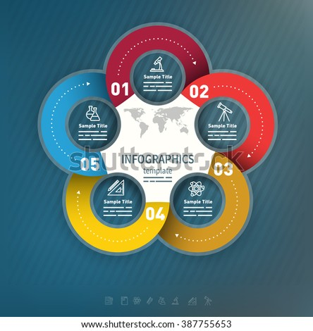 5 options abstract business presentation template used for brochures, diagrams, banners web designs, infographics - stock vector