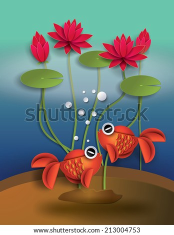 Orange Goldfish with bobbles and lotus - stock vector