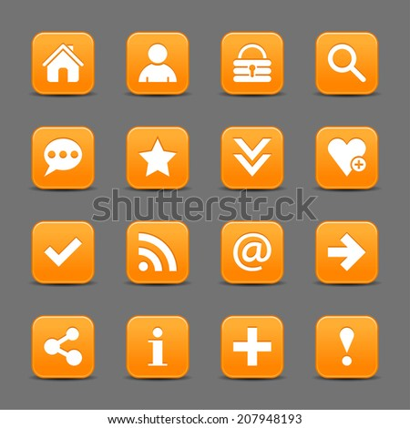 16 orange satin icon with white basic sign on rounded square web button with black shadow on dark gray background. This vector illustration internet design element save in 8 eps - stock vector