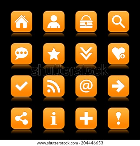 16 orange satin icon with white basic sign on rounded square web button with color reflection on black background. This vector illustration internet design element save in 8 eps - stock vector