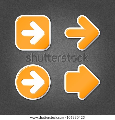 4 orange sticker arrow sign web icon. Smooth internet button with drop shadow on gray background with noise effect. This vector illustration clip-art design element saved in 10 eps - stock vector