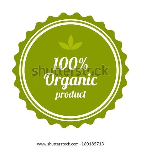 100% Organic product badge and label. Vector illustration.  - stock vector