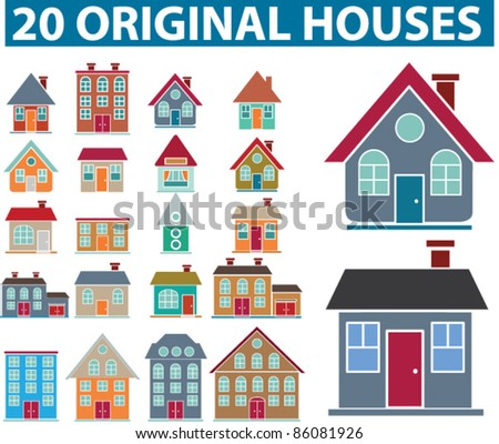 20 original houses icons, signs, vector set - stock vector