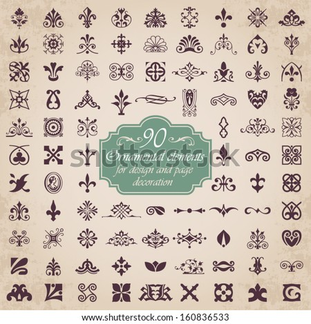 90 Ornamental elements for design and page decoration - stock vector