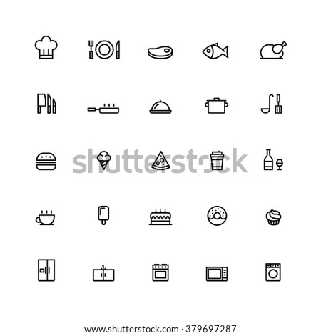 25 Outline Cooking Icons This icons have clean pixel lines. - stock vector