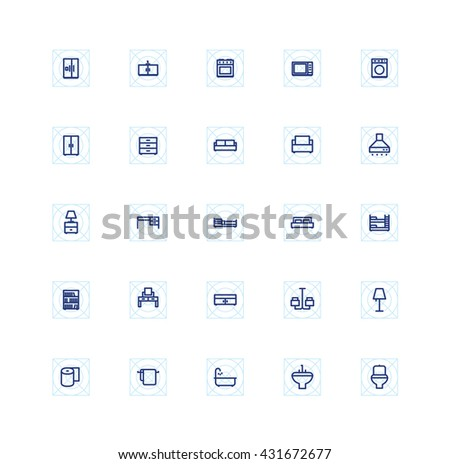 25 Outline Furniture Icons Interior Icon Bathroom Home House - stock vector