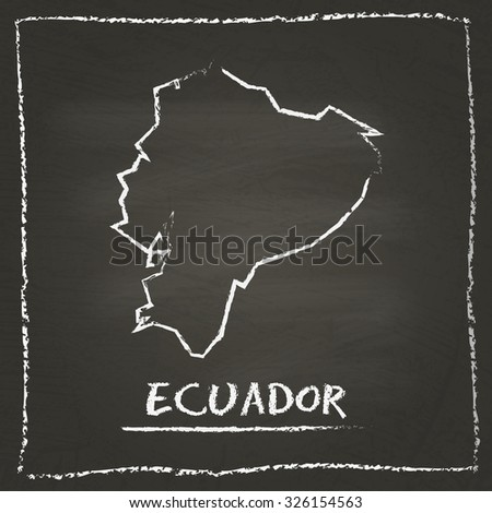 Outline vector map of Ecuador hand drawn with chalk on a blackboard. Chalkboard scribble in childish style. White chalk texture on black background - stock vector
