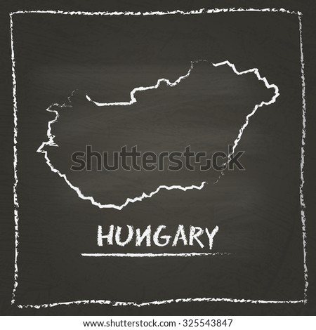 Outline vector map of Hungary hand drawn with chalk on a blackboard. Chalkboard scribble in childish style. White chalk texture on black background - stock vector
