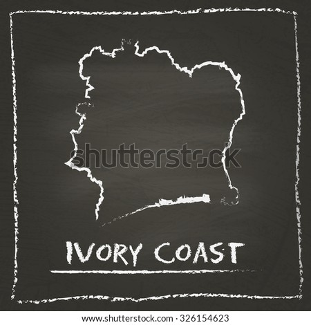 Outline vector map of Ivory Coast hand drawn with chalk on a blackboard. Chalkboard scribble in childish style. White chalk texture on black background - stock vector