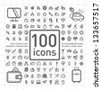 100 Outlined Icons of Holidays and Traveling, Business and Economy, Web and Internet, Ecology and Environment - stock vector
