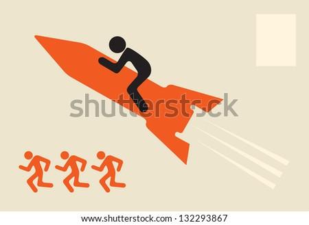 outstrip rivals - man on rocket - stock vector