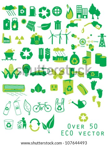 over 50 ECO vector Green Energy Icon Set depicting energy and energy use  ecology icons - stock vector