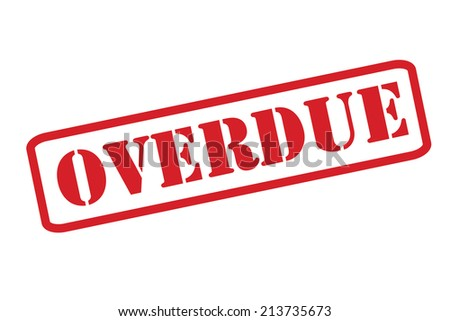 'OVERDUE' red rubber stamp vector over a white background. - stock vector
