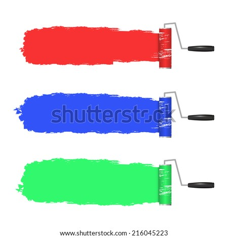 paint roller and paint banners. vector illustration. - stock vector