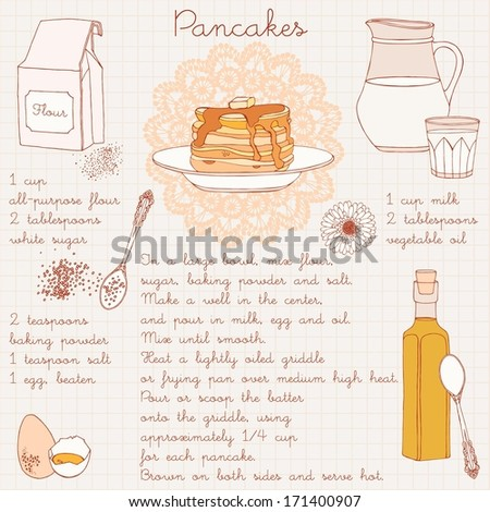 Pancakes recipe. Vector illustration. - stock vector