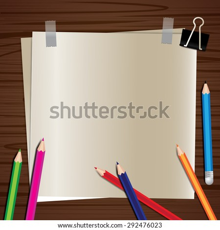paper on a wooden background - stock vector