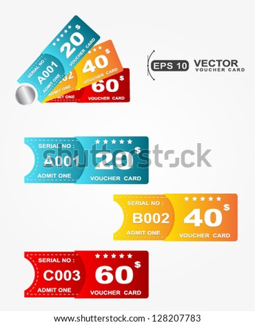 paper voucher gift card coupon  - stock vector