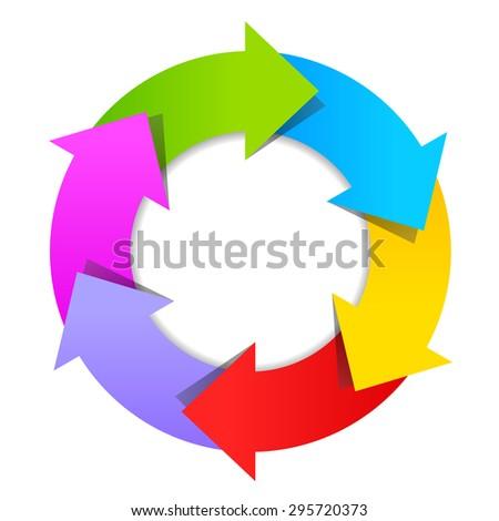 6 part arrow wheel diagram - stock vector