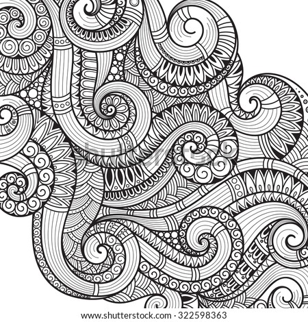 Pattern for coloring book. Ethnic, floral, retro, doodle, vector, tribal design element. Black and white background. Doodle vector background Henna paisley mehndi doodles design tribal design element - stock vector