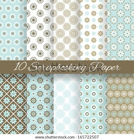 10 Pattern papers for scrapbook (tiling). Blue, white and brown shabby color. Endless texture can be used for printing onto fabric and paper or scrap booking. Flower abstract shape. Baby wallpaper. - stock vector