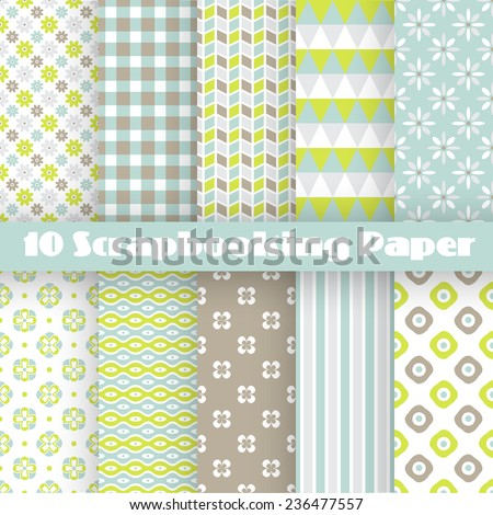 10 Pattern papers for scrapbook (tiling). Blue, white, green and brown shabby color. Endless texture can be used for printing onto fabric and paper or scrap booking. Flower abstract shape. - stock vector