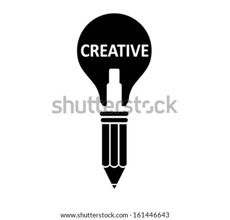 pencil light bulb as creative concept.vector  - stock vector
