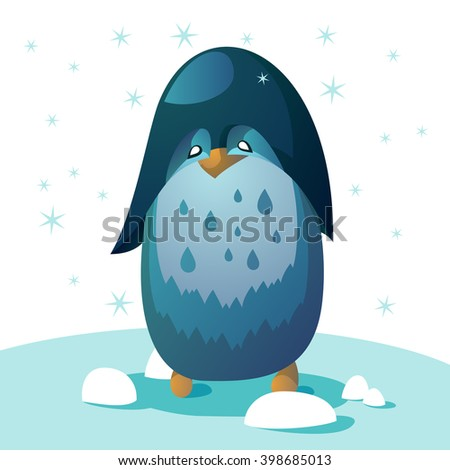 penguin standing on a white snow. Adult happy penguin. From the sky falling snow. penguin men - stock vector