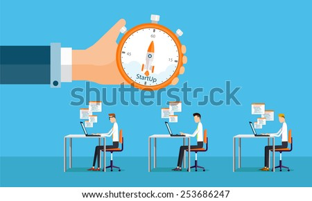 people business working and star tup to business project .people business cartoon character - stock vector