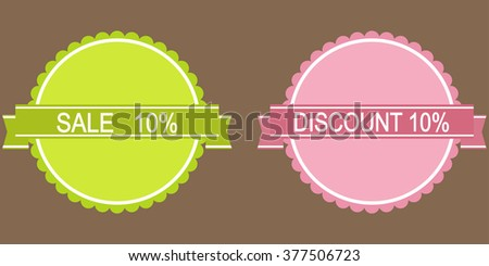 10 percent discount green and pink button  - stock vector